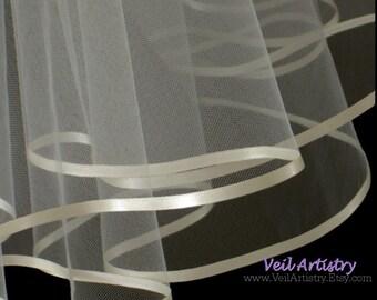 Short Wedding Veil, Radiance Veil, 2 Tier Veil, Shoulder Veil, Satin Ribbon Veil, First Communion Veil, Made To Order Veil, Bespoke Veil