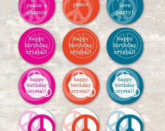 PRINT & SHIP Peace Love and Party Birthday Cupcake Toppers (set of 12) >> personalized and shipped to you   Paper and Cake