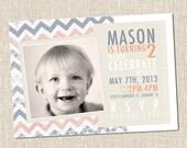 Chevron Custom Printable Birthday Invitation - 2nd Birthday Invitation - Mason Chevron