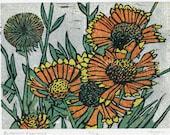 Original linocut - Blanketflowers
