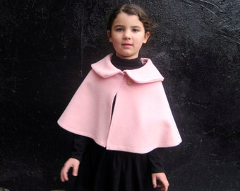 Girls Pink Cape Shrug -  Wool Kids Capelet with Peter Pan Collar Size 1T to 3T - Fall Winter Fashion