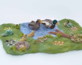 Summer Felted Duck Pond Playmat Set - Eco-Friendly Wool Kids Toys - Waldorf Inspired Play Scape in Blue Green