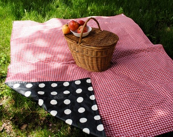 AS SEEN on Cityline TV! Picnic Blanket-Eco Friendly Waterproof Picnic Blanket- Red and White Gingham- Personalized, Wedding Gift