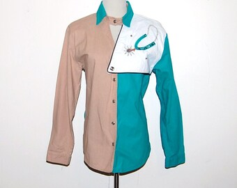 Sale.....Vintage Shirt Western Turquoise and Sand