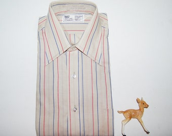 Vintage Mens Dress Shirt Khaki with Red and Blue 70s Pointy Collar