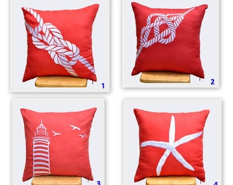 Coral Pillow Cover, Sailing Throw Pillow Cover Set of 2, Coral Linen White Nautical Embroidery, Coastal Decor, Couch PillowCHOOSE THE DESIGN