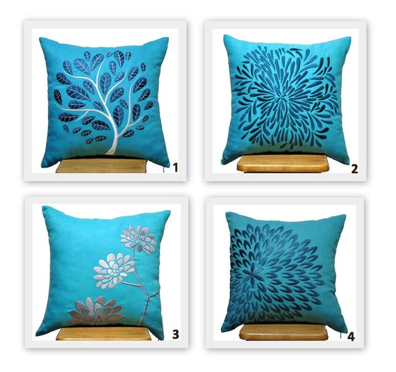 Teal Blue Throw Pillow Covers : Unavailable Listing on Etsy