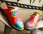 Handmade Red Leather  Lace Clogs Shoes - Pink Flamingo Painted Landscape Airbrushed, Custom Made or stock Size 5, 6, 7, 8, 9, 10