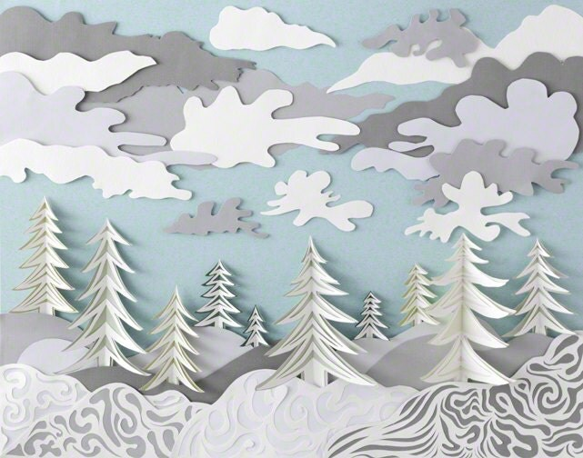 Art Print Paper Sculpture Winter by DeeDeeJacq on Etsy