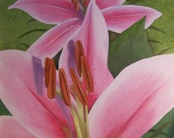Oil Painting Original Floral Art Canvas Stargazer Lillies pink flowers