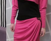 New Wave 80s Dress in Hot Pink and Black by Emanuel Ungaro