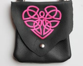 Leather Hip Bag with Celtic Heart