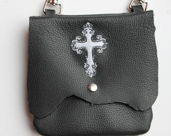 Leather Hip Bag with Machine Embroidered Cross