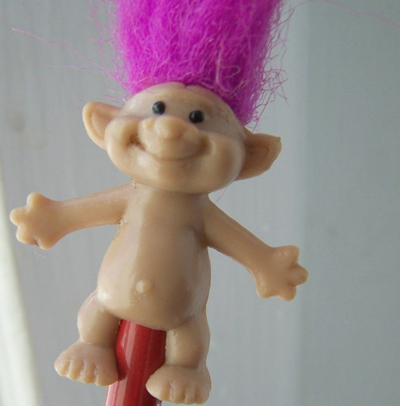 Vintage Toy , Flame Purple Hair Troll Doll Miniature Pencil Topper ...