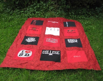 Custom Twin Size Tshirt Memory Quilt made with your own T shirts