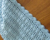 Crochet Baby Blanket Lacy Shell Stitch Crib Size Crochet Afghan - Baby Boy Blue - Direct Checkout - Ready to Ship