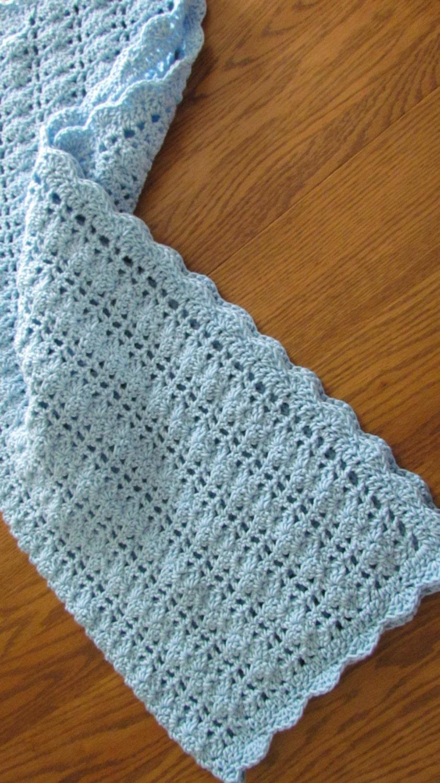 Crochet Baby Blanket Lacy Shell Stitch Crib Size Crochet