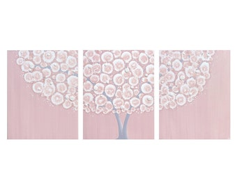 Baby Girl Nursery Wall Art - Pink and Gray Large Tree Painting - Original Art on Triptych Canvas - Large 50x20