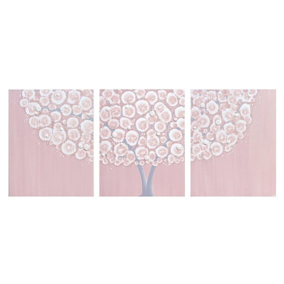 Grey Girl Wall Decor : Baby girl nursery wall art pink and gray large tree by