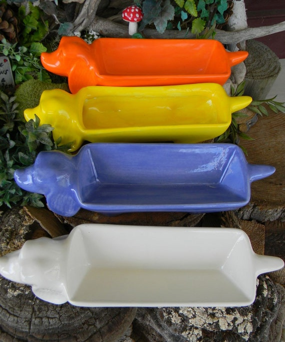 Dachshund Dog Planter Dish Ceramic White Vintage Style