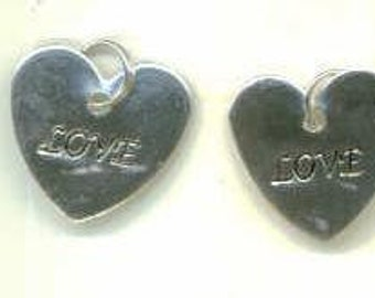 Heart LOVE Silver Charms Set of 2