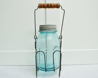 Vintage Ball Perfect Mason Jar With Wire Canning Basket- Holder-Country Kitchen Charm-Cottage Chic