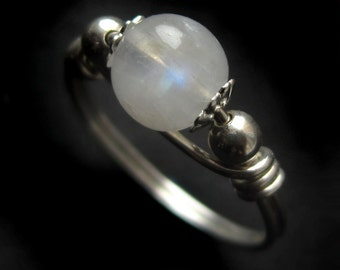 Small Sterling Silver and Rainbow Moonstone Ring