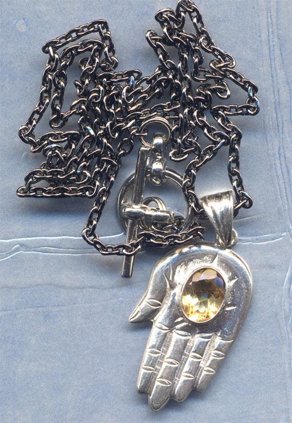 Sterling Silver Fatima Hand Pendant  from Nepal, Hamsa Hand,  with Citrine on Gun Metal Chain, Handmade Nepal Jewelry by AnnaArt72