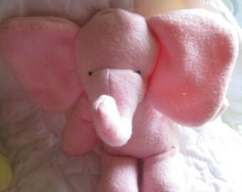 Pink Seated Baby Elephant  Stuffed Animal  Washable Soft Plush Toy Travel Toy