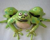 Chartreuse Smiling Frog Sculpture original