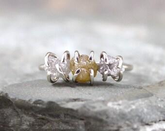 Three Stone Rough Diamond  and 14K White Gold Ring  - Trio Engagement Ring - Anniversary Ring - April Birthstone
