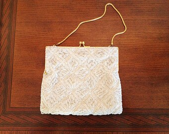 Vintage White Beaded Purse. Evening. Formal. Square. Small Purse. Fancy. Elegant. Wedding. Gold. 1980s. Evening Purse. Gold Chain Strap.