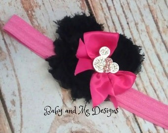 Priority Ship Shabby Chic Frayed Rose Headband Minnie Mouse with Crystals Black and Hot pink