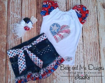 3 pc set Patriotic 4th of July outfit pesant top with crystals, Memorial Day Special Pricing Reg. 59.99