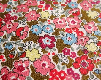 FREE SHIPPING Floral Fabric - Lovely Flowers in Brown - Fat Quarter