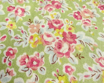 FREE SHIPPING Japanese Floral Fabric - Classic Vintage Floral in Green (F015) - Fat Quarter