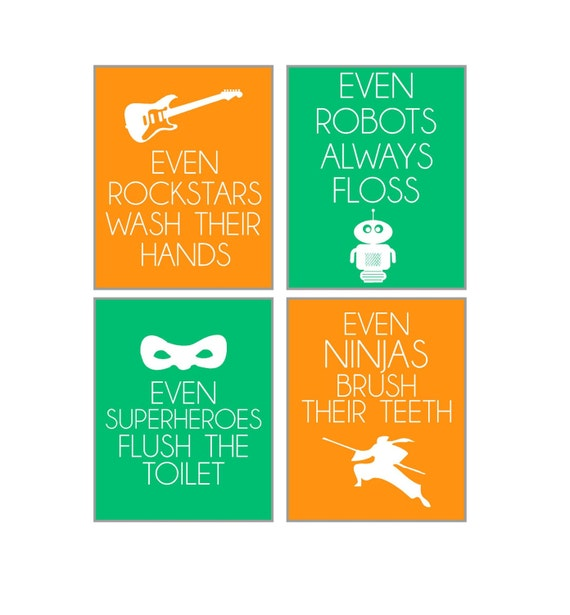 Boys Set of 4 Bathroom Poster Print Vinyls
