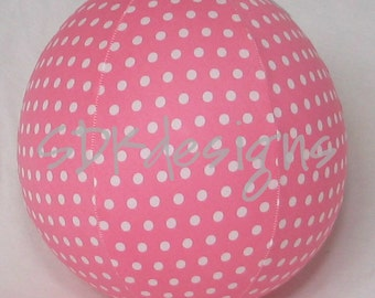 Balloon Cover Ball TOY -  Bubblegum PINK small Polka Dot Fabric - Great for Birthday Party Decor or Photo Prop
