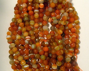 One Full Strand of 8 mm  Unique Orange Agate Gemstones (51)