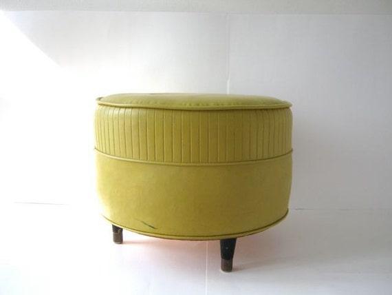 Vintage Mid Century Yellow Round Foot Stool Ottoman
