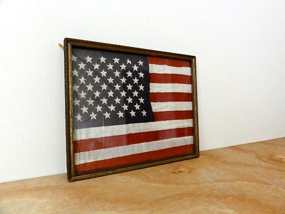 Items Similar To Vintage American Flag In Frame On Etsy