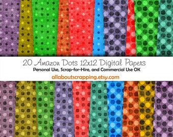 """12"""" by 12"""" COMMERCIAL Use Digital Scrapbooking Paper - Amazon Dots Digital Papers - Instant Download"""