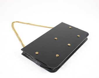 Vintage 50's Black Lucite Ronay Purse Brass Gold Bolt Studs Chain Handle