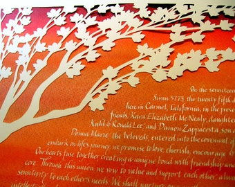 Papercut Artwork Ketubah - Fall Colors - Maple Tree - calligraphy Hebrew English