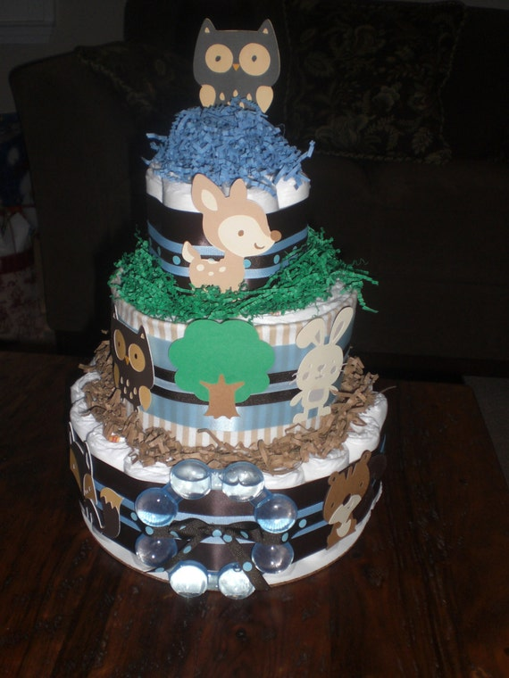 woodland theme diaper cake baby shower centerpiece owl other colors