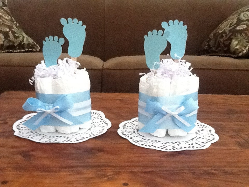 Diaper Cake Centerpiece For Baby Shower : Baby Feet Diaper Cake Baby Shower Centerpieces other sizes and