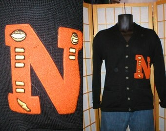 Vintage 50s black wool letterman cardigan sweater mens size small / medium