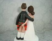 Custom Handmade Bride and Groom Scottish Wedding Cake Topper