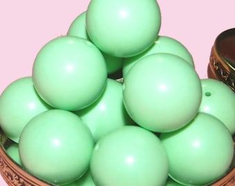 Vintage Lot of 6 Pale Green Huge 25mm Beads FR6