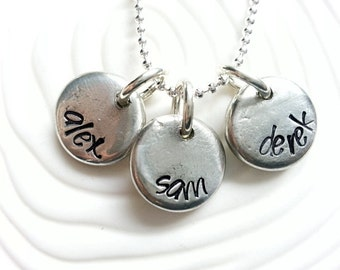 Personalized Hand Stamped 3 Name Necklace - Mothers Jewelry